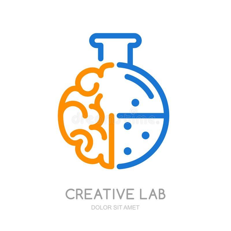 Vektorlogo, symbol, symbol med hjärnan och labbflaska vektor illustrationer