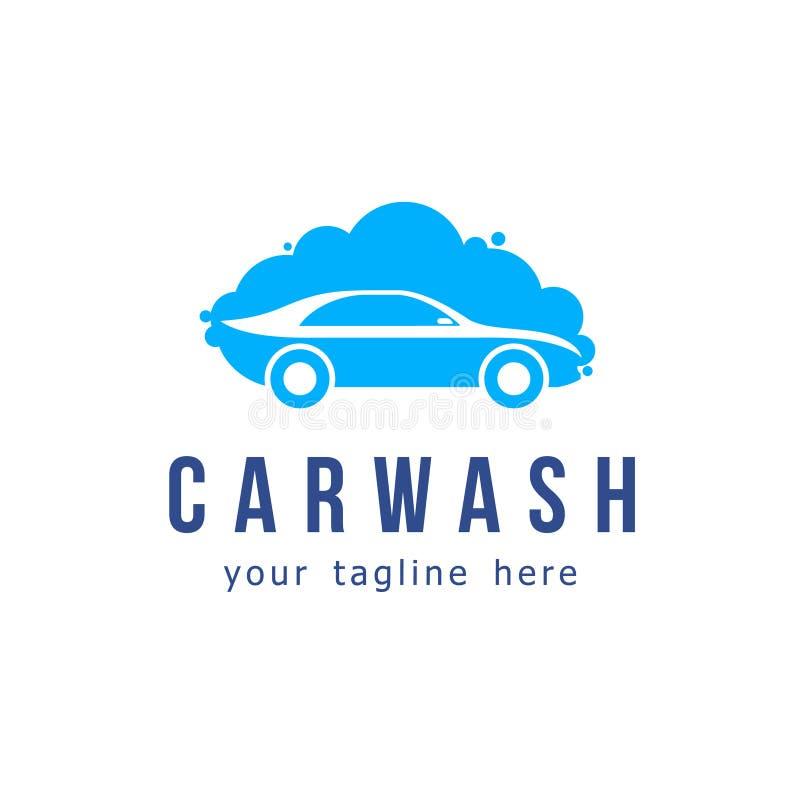 Vektorlogodesign automatisk wash för service för bilcleaningmaskin stock illustrationer