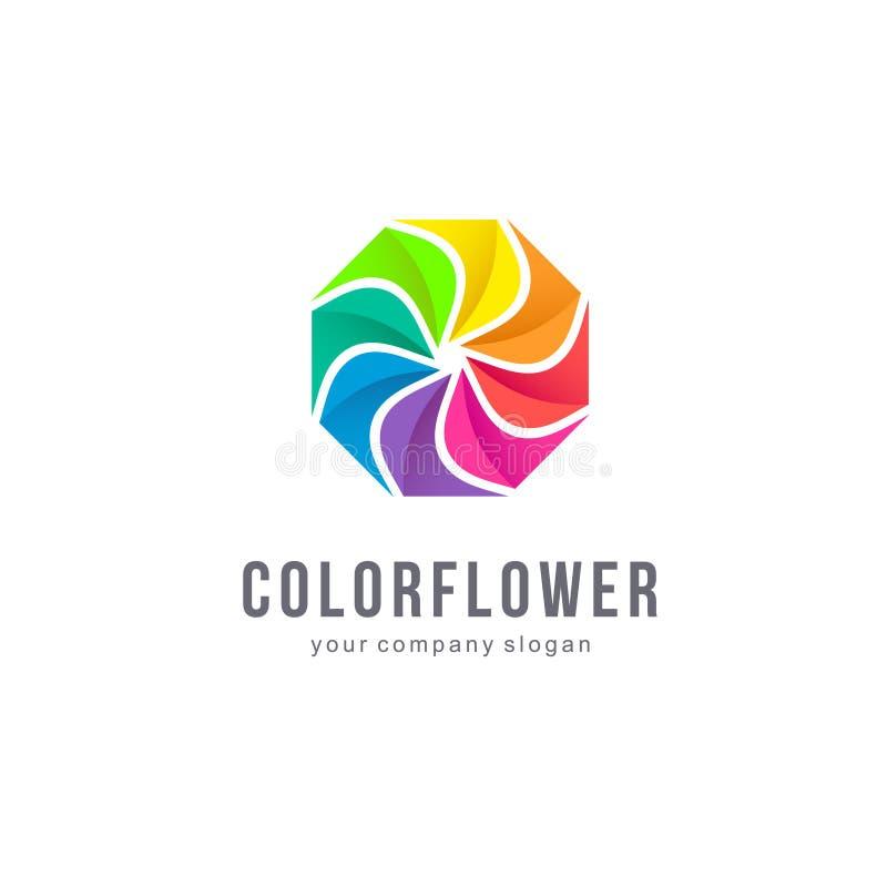 Vektorlogodesign din blom- blomma för bakgrundsfärgdesign Färgglat tecken royaltyfri illustrationer