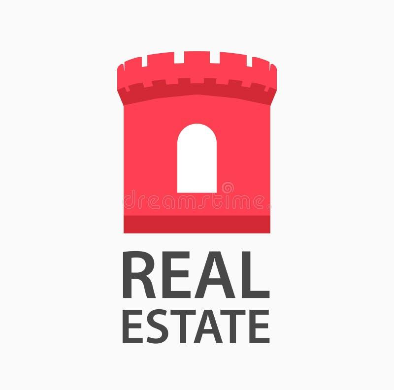 Vektorlogodesign för ett företag som kopplas in i fastighet Det röda tornet av slotten visar pålitlighet och försäkring royaltyfri illustrationer