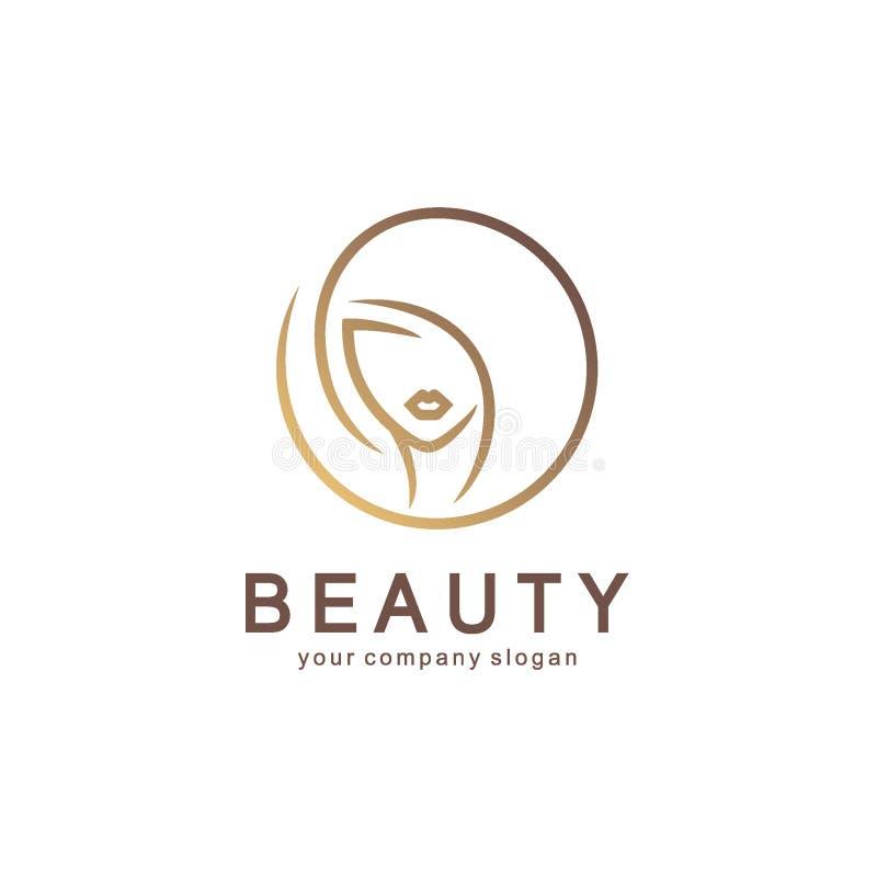 Vektorlogodesign för skönhetsalongen, hårsalong, skönhetsmedel royaltyfri illustrationer