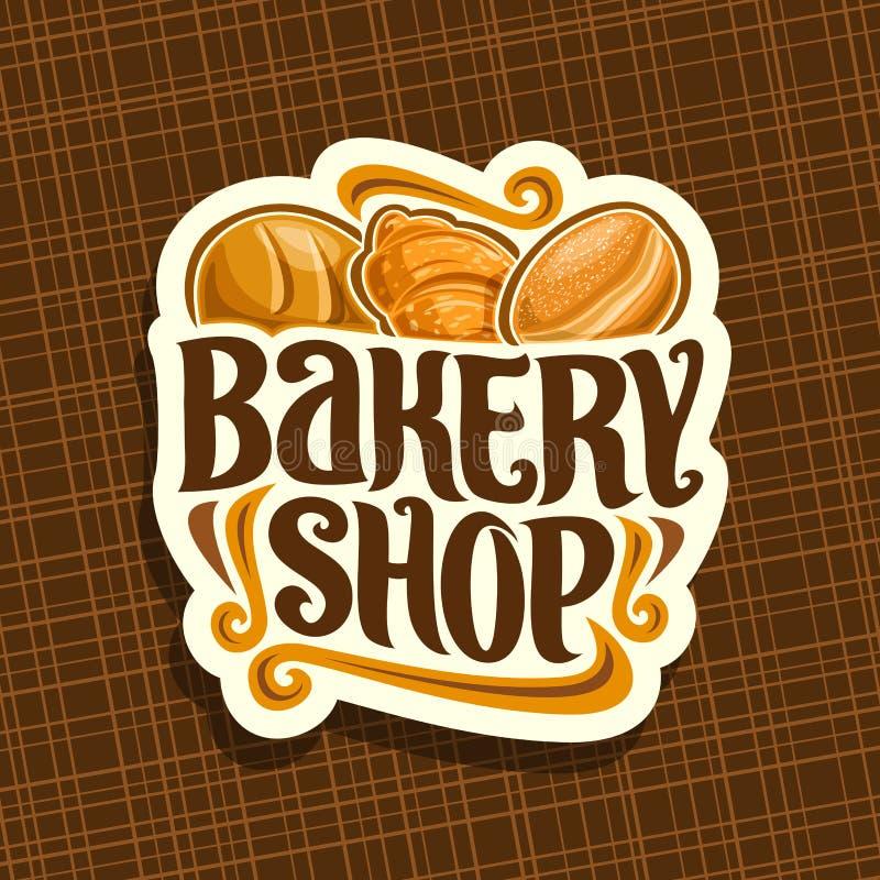 Vektorlogoen för bageri shoppar stock illustrationer