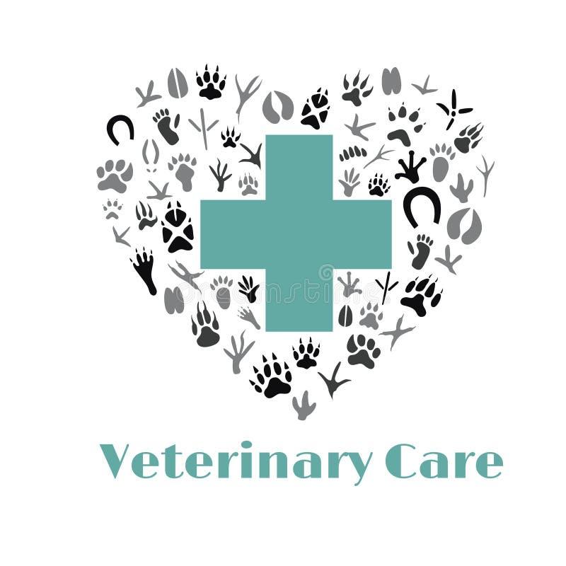 Vektorlogoen för ett älsklings- lager, veterinär- som är älsklings- shoppar, djur omsorg royaltyfri illustrationer