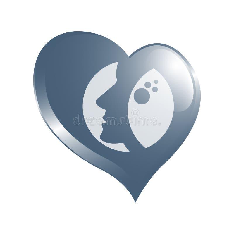 Vektorlogoen för kvinnasalonger och shoppar, den abstrakta logoen för en friare stock illustrationer