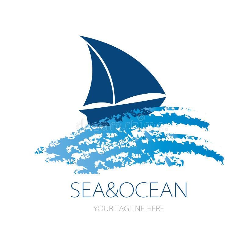 Vektorlogoentwurf des OzeanMeerwasser-Strandsommers Tourismus für Reise, Ausflug, Yacht, Hotelschiff segelnd stock abbildung