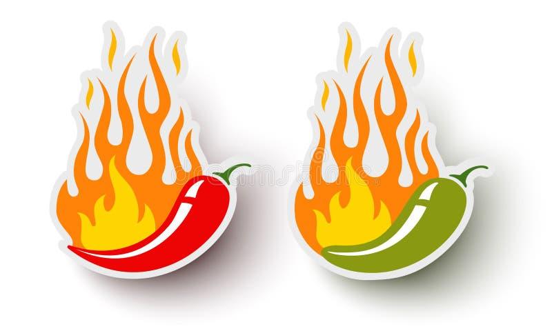 Vektorlogoer med chilipeppar stock illustrationer