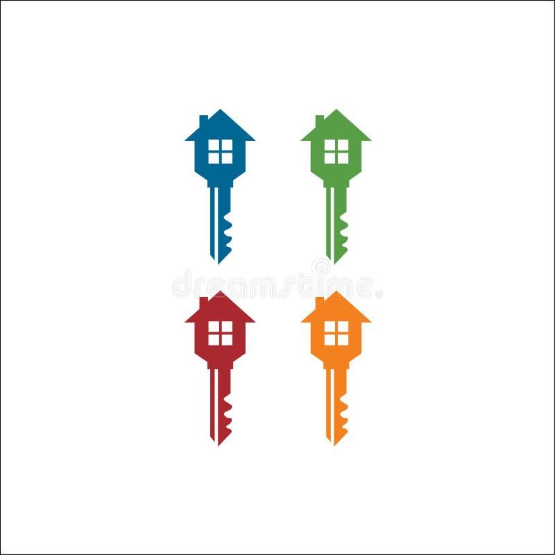 Vektorlogogestaltungselement der Schlüssel- u. Hausikone Schablone stock abbildung