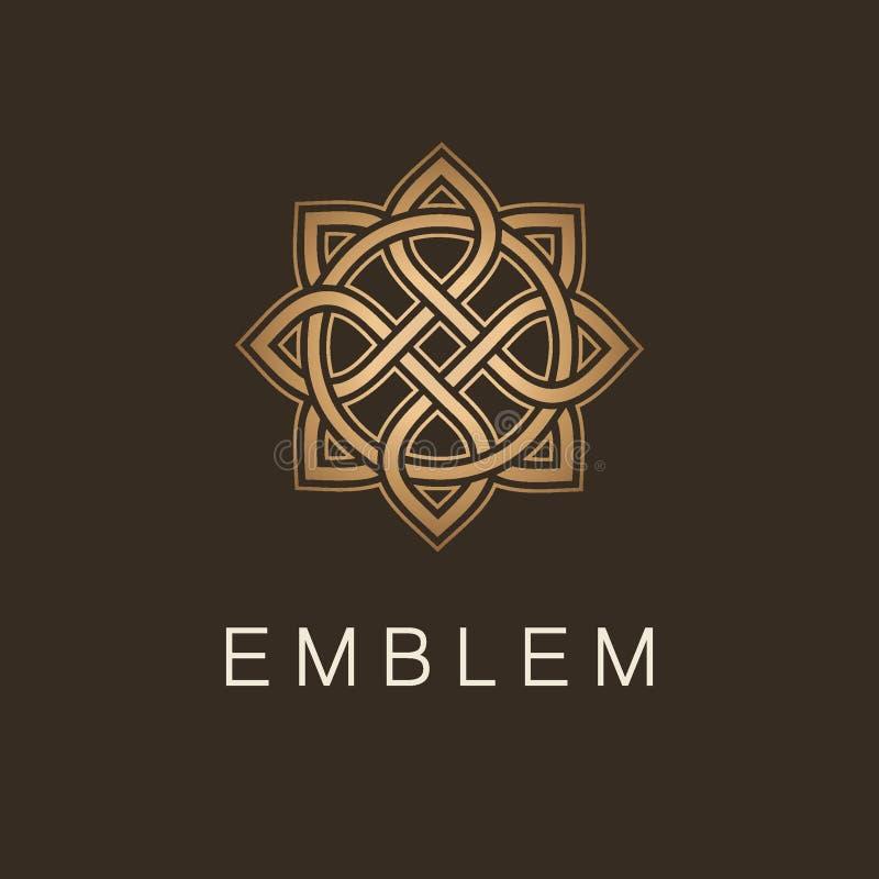 Vektorlogomall för boutiquehotellet, restaurang, smycken Guld- lyxig monogram Maskot royaltyfri illustrationer