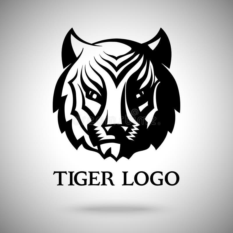 Vektorlogomall med tigerframsidan för emblem, etiketter, symboler, logotyper etc. stock illustrationer
