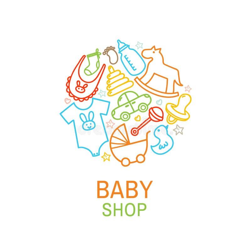 Vektorlogomallen av behandla som ett barn shoppar royaltyfri illustrationer