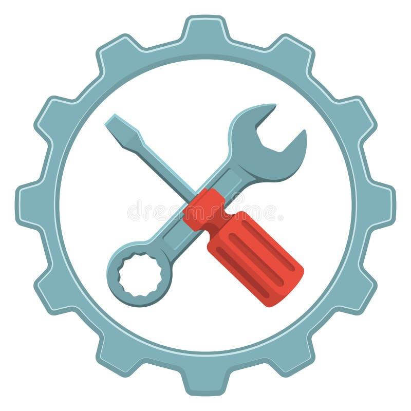 Vektorlogoreparation Hjälpmedel underhåll, reparationsservice stock illustrationer