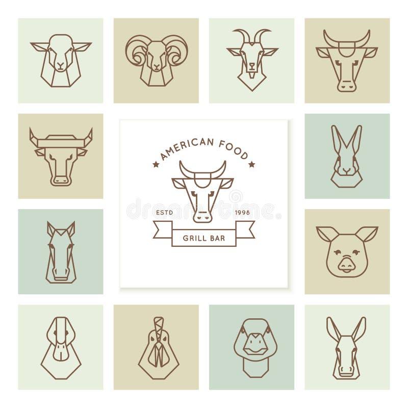 Vektorlogos der amerikanischen Nahrung, großer Satz Vektorikonen von Köpfen von Vieh lizenzfreie abbildung