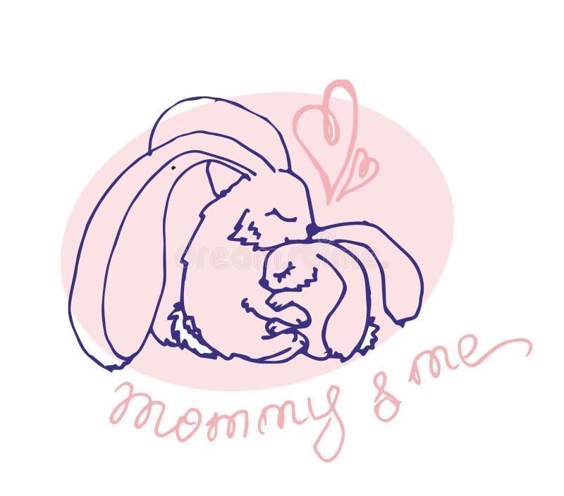 Vektorlogotyp med djur mig mommy stock illustrationer