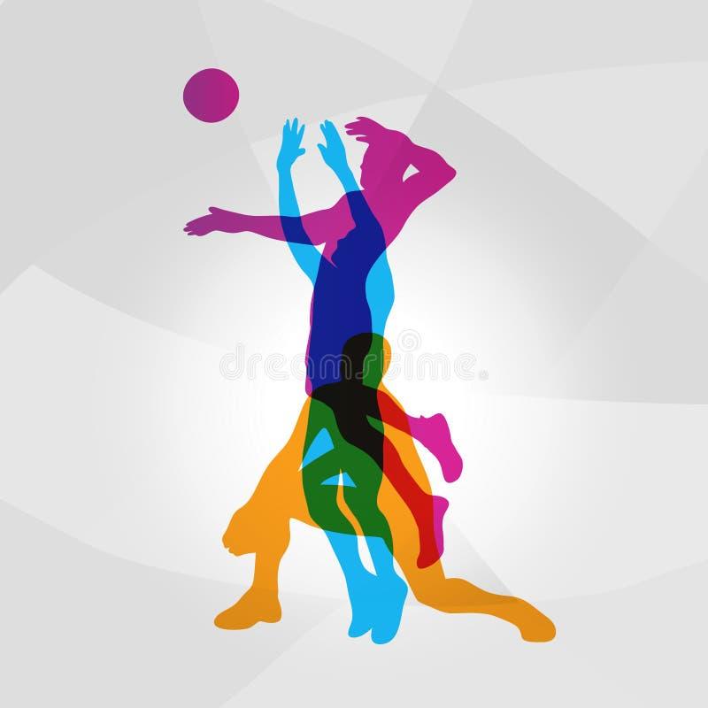 Vektorlogovolleyball Volleyballspieler schlägt einen Ball vektor abbildung