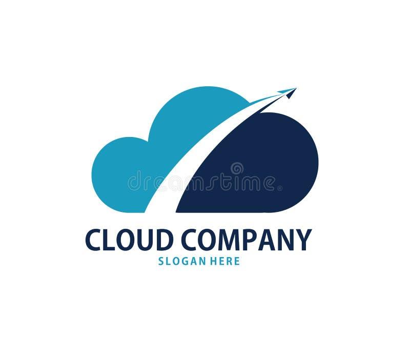 Vektorlopp utöver design för logo för molnonline-molnlagring vektor illustrationer