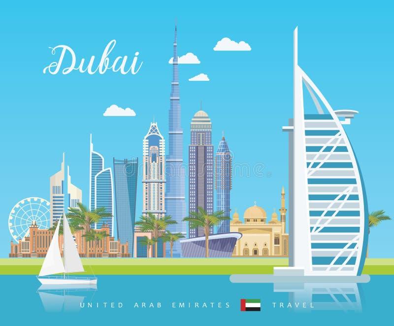 Vektorloppaffisch av Förenade Arabemiraten Dubai 1 fågelflyg s UAE-mall med moderna byggnader och moské i ljus stil royaltyfri illustrationer