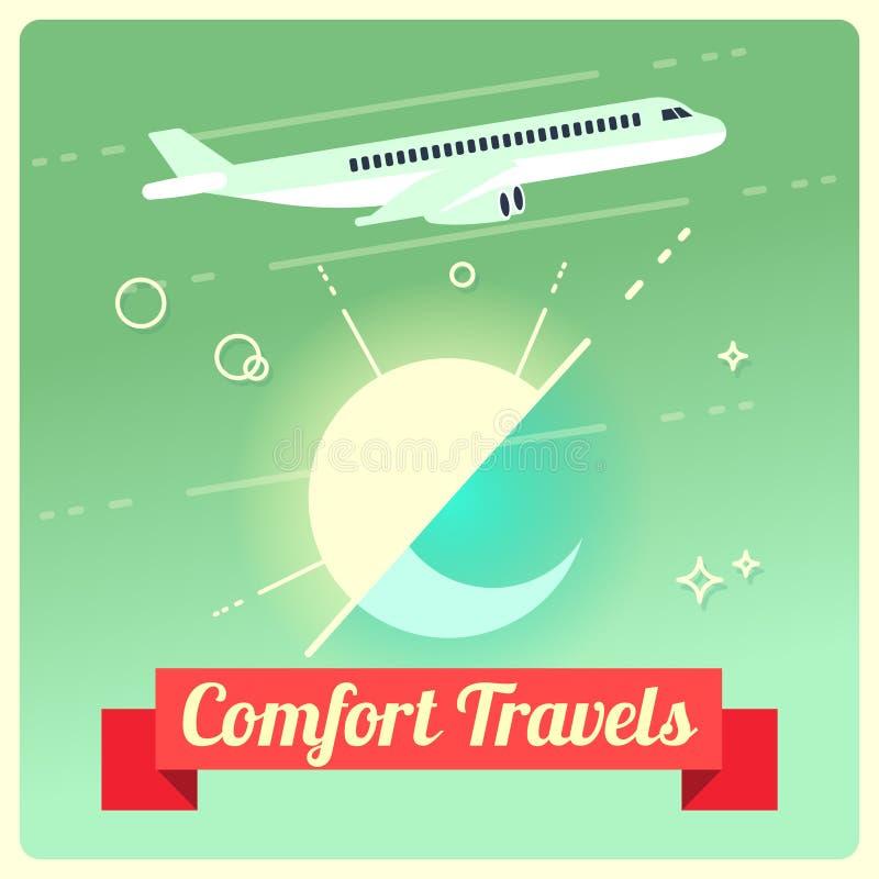 Vektorloppbegrepp med passagerareflygplanet royaltyfri illustrationer
