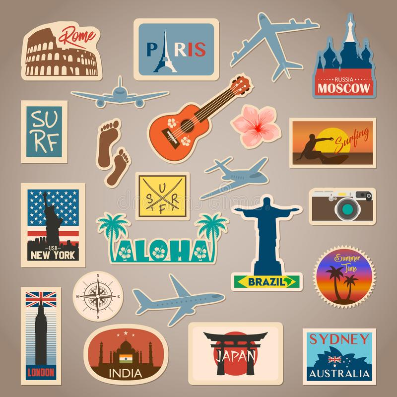 Vektorloppklistermärke och etikettuppsättning med berömda länder, städer, monument, flaggor och symboler i retro eller tappning vektor illustrationer