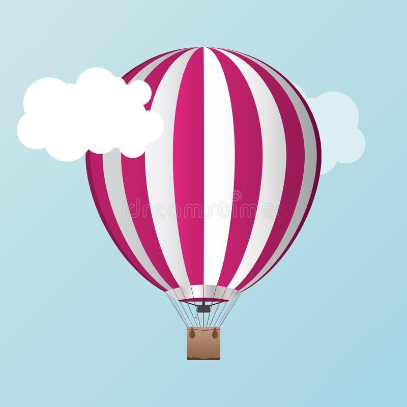 Vektorluft Ballon mit Wolken stock abbildung