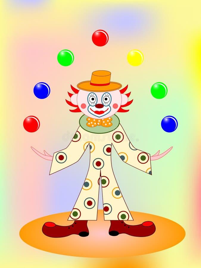 Vektorlustiger Clown mit Kugeln stock abbildung