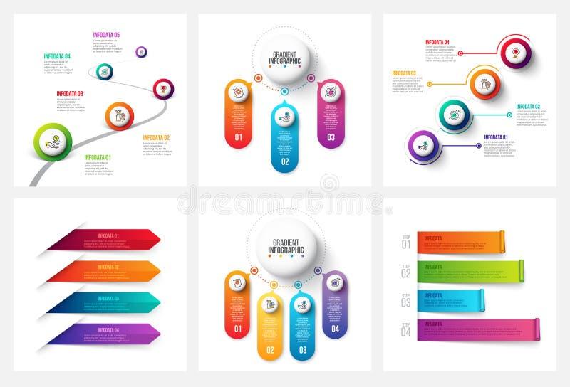 Vektorlutning som är infographic och marknadsför beståndsdelar Kan användas för presentationen, diagram, årsrapporten, rengörings royaltyfri illustrationer