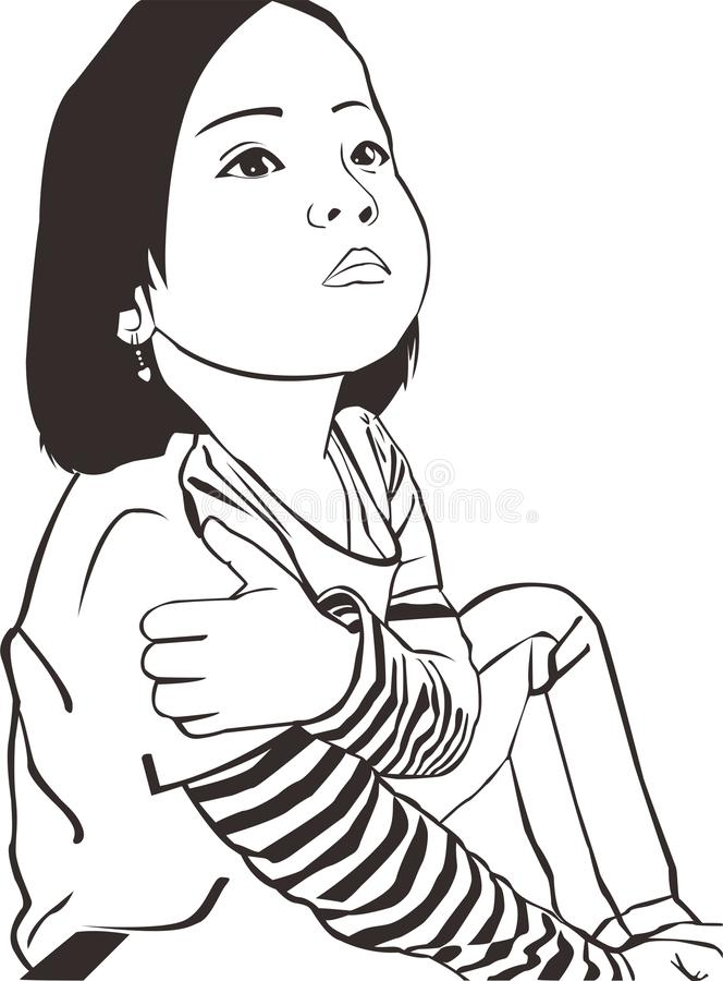 Vektormädchenkinderkindermädchen entwerfen schwarze weiße schöne Leutekunstkünste stockbilder
