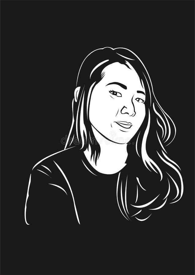 Vektormädchenkinderkindermädchen entwerfen schwarze weiße schöne Leutekunstkünste lizenzfreie stockfotografie