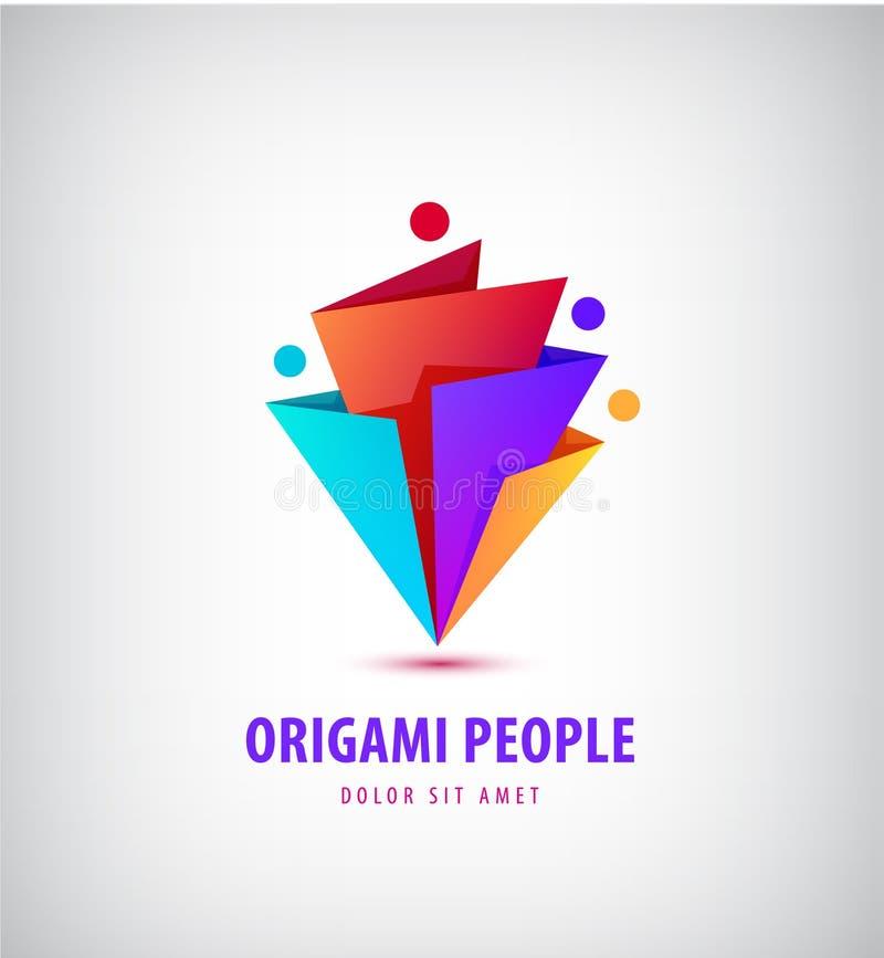 Vektormän grupperar logoen, människan, familjen, teamworksymbol Gemenskap folk undertecknar in modern stil, origami 3d stock illustrationer