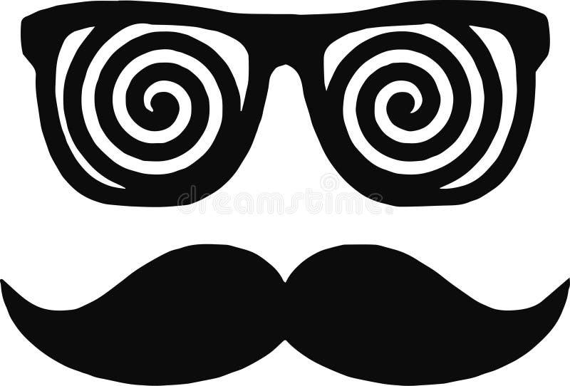 Vektormän vänder mot med den långa mustaschen och enormt, hipsterexponeringsglas bakgrund isolerad white vektor illustrationer