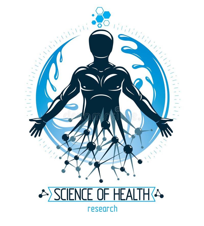Vektormänniska som göras som vetenskapliga anslutningar och omges av en vattenboll Teknologi- och naturj?mvikt vektor illustrationer