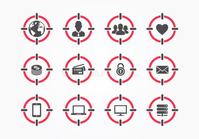 Vektormål på personmördaren Icon Set Uppsätta som mål sammansatta symboler med åhörare, värld, män, grupp människor, hjärta, peng royaltyfri illustrationer