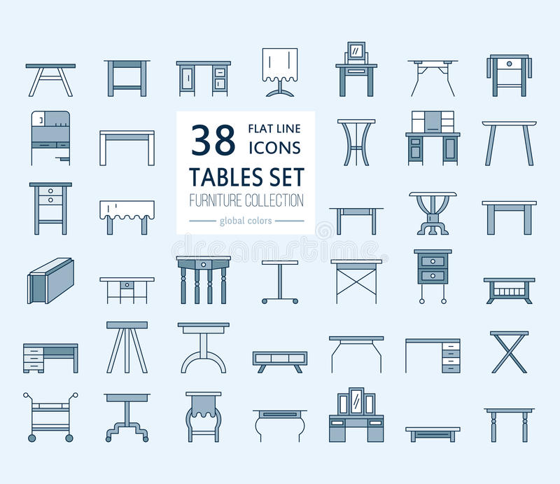 Vektormöbellinie Ikonen, Tabellensymbole Schattenbild der unterschiedlichen Tabelle - Abendessen, Schreiben, Frisierkommode Linea stock abbildung