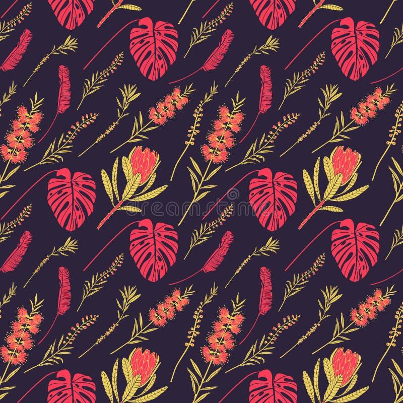 Vektormönster med tropiska blommor och blad stock illustrationer