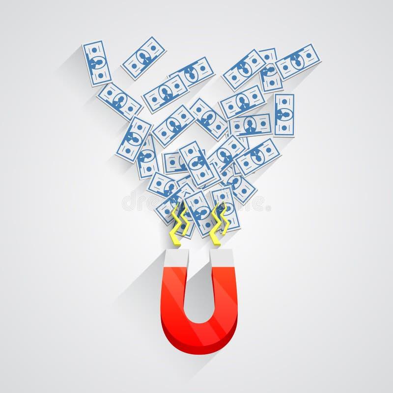 Vektormagnet med dollar stock illustrationer