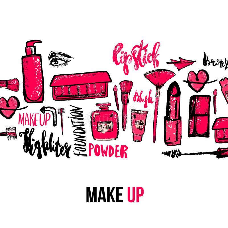 Vektormakeupbakgrund Den glamorösa makeupsamlingen med spikar polermedel och läppstift stock illustrationer