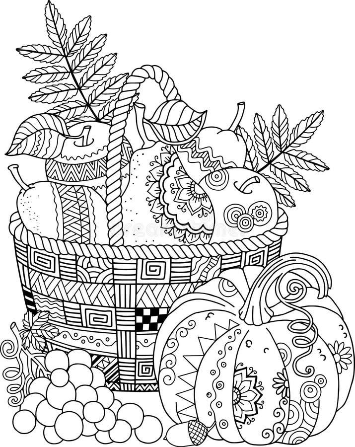 Vektormalbuch für Erwachsenen Begriffserntegraphik mit verschiedenem Gemüse auf dem Feld Korb von Äpfeln stock abbildung