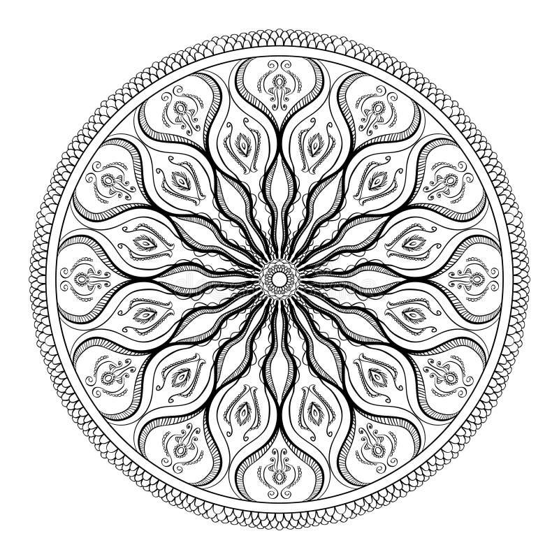 Vektormalbuch für Erwachsenen Seite für entspannen sich und Meditation Schwarzweiss-Mandalamuster mit ethnischer indischer mehndi lizenzfreie abbildung