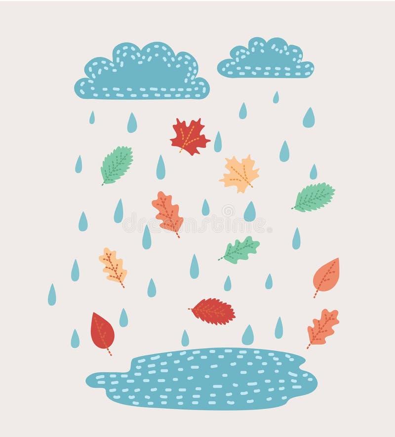Vektormalerei übergibt Wolke und Regen Türkisaquarellkunst Vektorbild, Abbildung Kreatives Wetter Feine Regentropfen im Himmel vektor abbildung