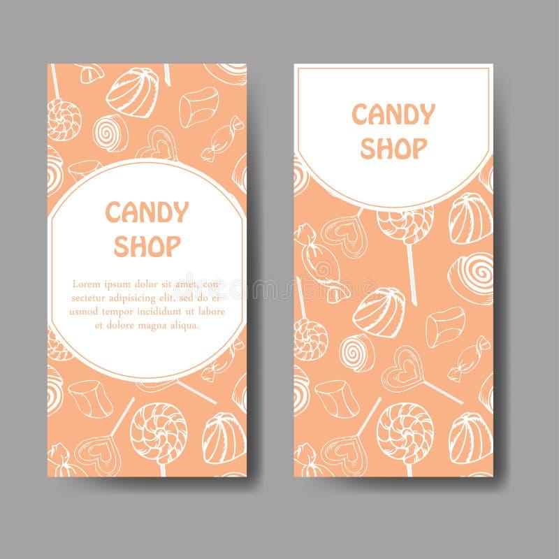 Vektormall för affärskort med hand drog godissötsaker Livsmedelsbutikaffisch Broschyr med klubban, gummi, nicy stock illustrationer