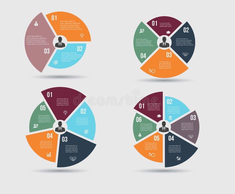 Vektormall för cirkuleringsdiagram, graf, presentation och runt diagram royaltyfri illustrationer