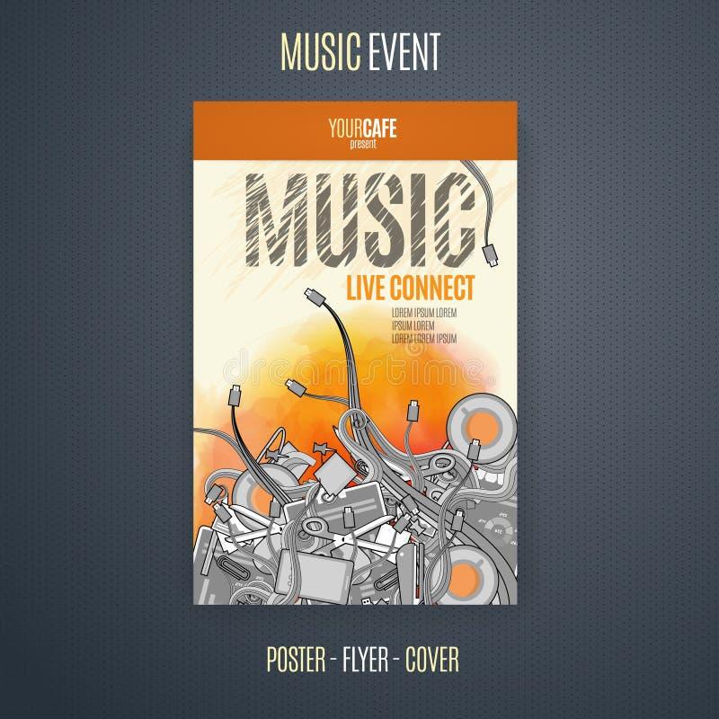 Vektormall för en konsertaffisch eller en reklamblad som presenterar en musikhändelse royaltyfri illustrationer