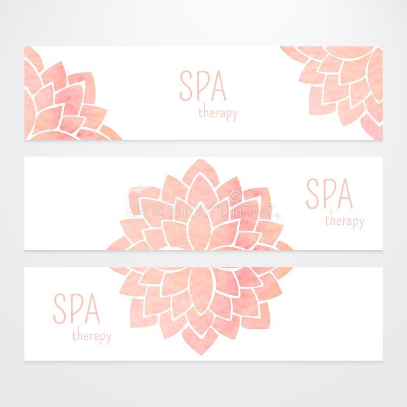 Vektormallar av baner med för lotusblommablomma för vattenfärg den rosa mandalaen royaltyfri illustrationer