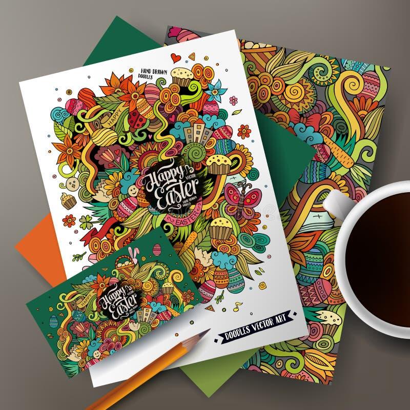 Vektormallar för företags identitet ställde in med det klottereaster temat stock illustrationer