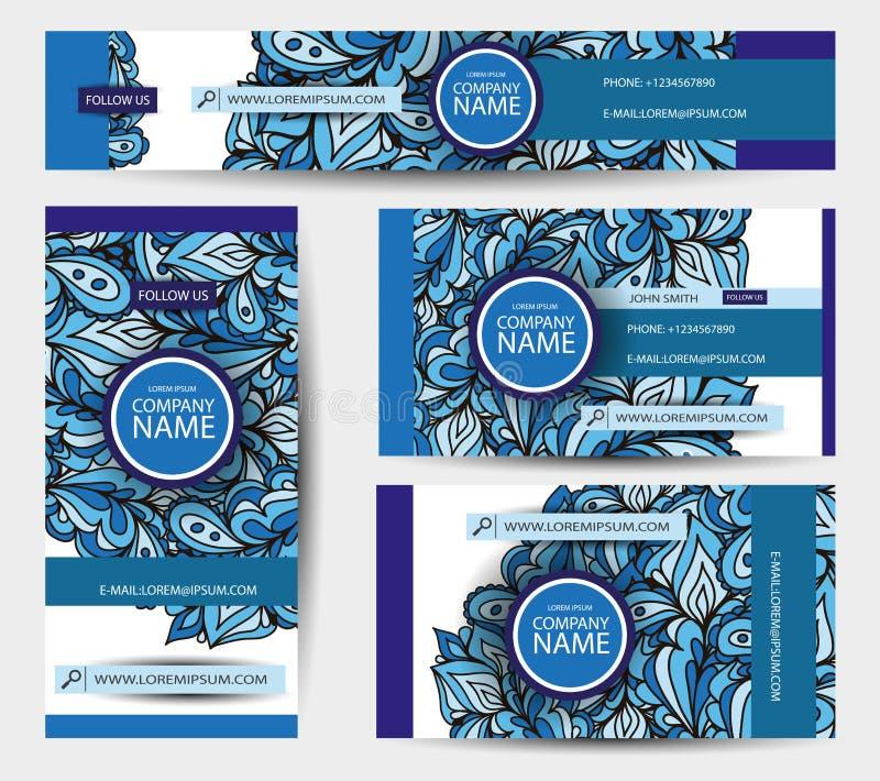Vektormallar för företags identitet ställde in med färgrika klotter stock illustrationer