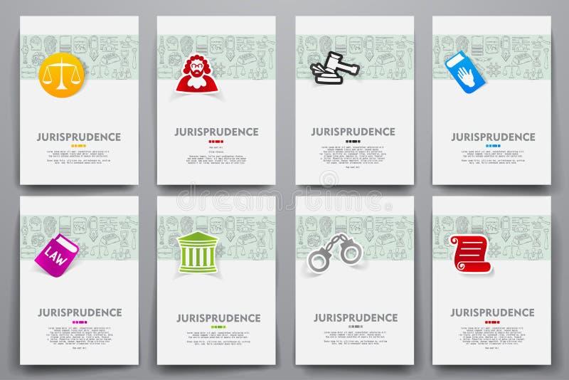 Vektormallar för företags identitet ställde in med klotterrättsvetenskaptema royaltyfri illustrationer