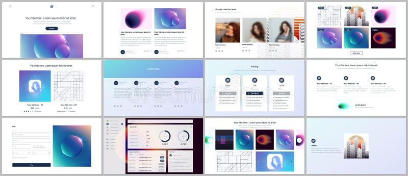 Vektormallar för website planlägger, minsta presentationer, portfölj med färgrika abstrakta lutningsuddigheter och royaltyfri illustrationer