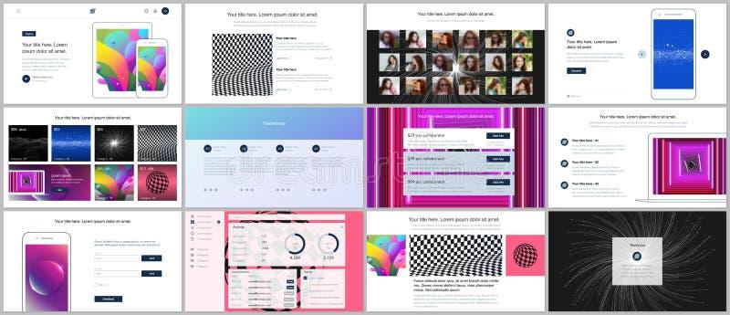 Vektormallar för website planlägger, minsta presentationer, portfölj med vibrerande färgrik abstrakt lutning royaltyfri illustrationer