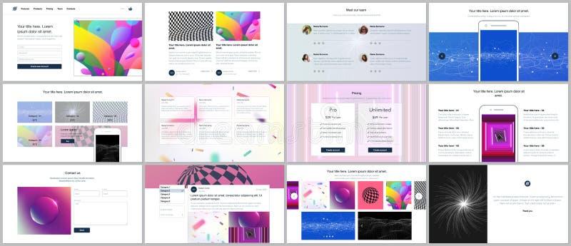 Vektormallar för website planlägger, minsta presentationer, portfölj med vibrerande färgrik abstrakt lutning vektor illustrationer
