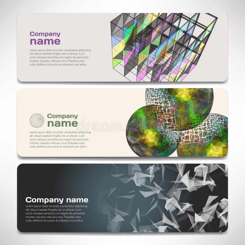 Vektormallbaner med digital teknologi och internet vektor illustrationer
