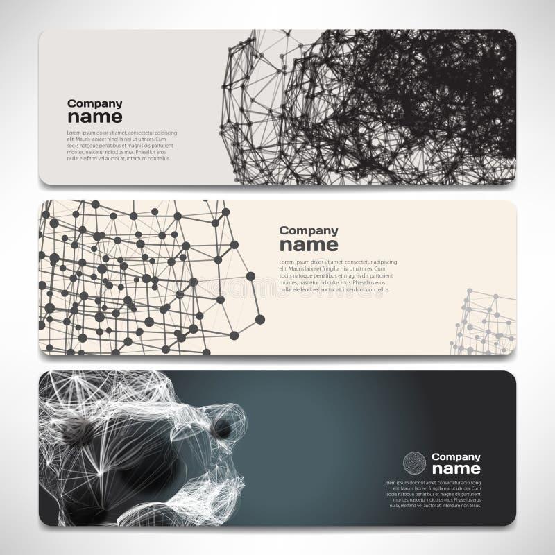 Vektormallbaner med digital teknologi och internet stock illustrationer